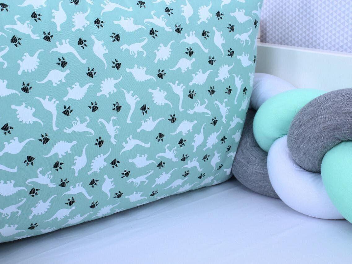 Kit de Berço Trança Dino Verde 06 Peças  - Toca do Bebê