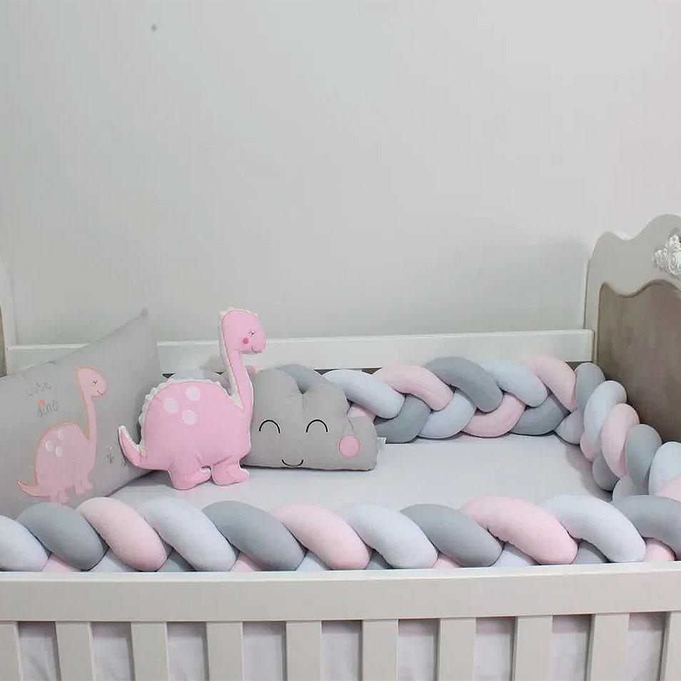 Kit de Berço Trança Dino Rosa 08 Peças  - Toca do Bebê