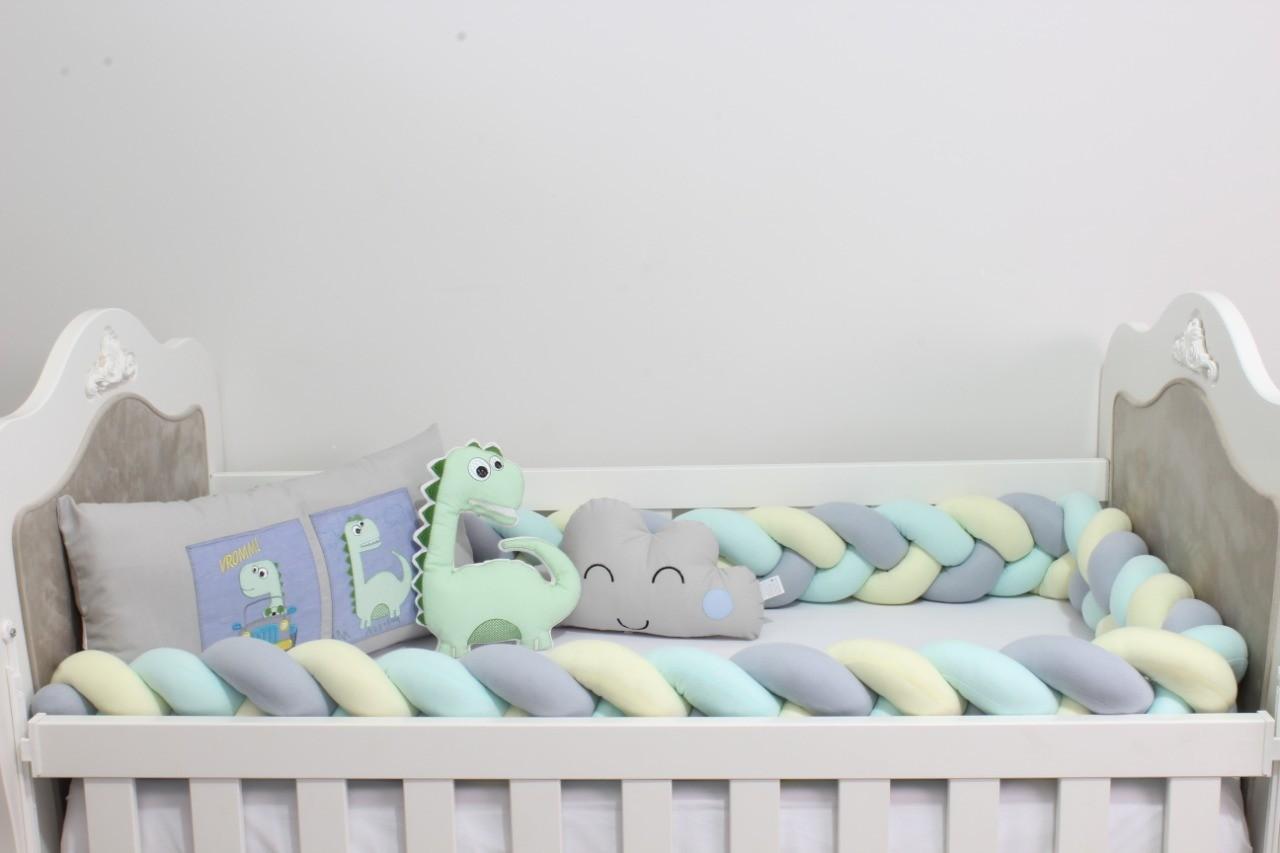Kit de Berço Trança Dinossauro 08 Peças  - Toca do Bebê