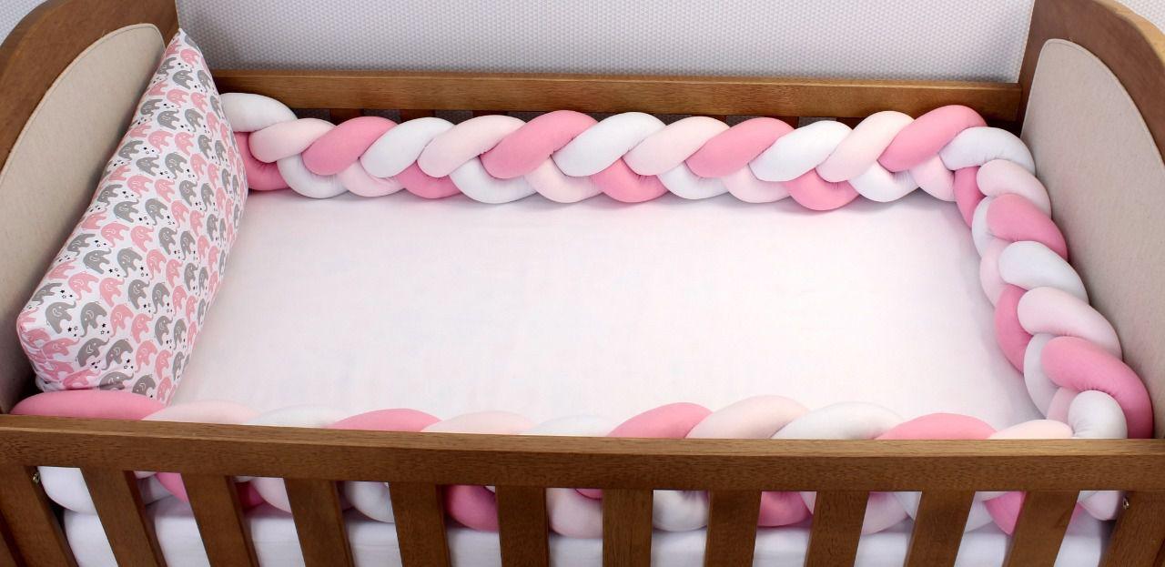 Kit de Berço Trança Elefantinho Rosa 06 Peças  - Toca do Bebê