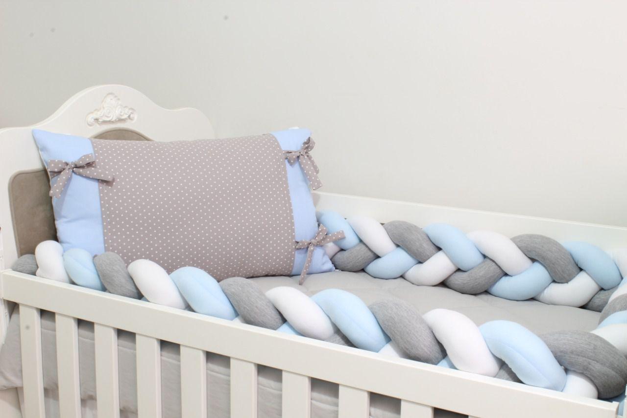 Kit de Berço Trança Estrelinha Azul 07 Peças  - Toca do Bebê