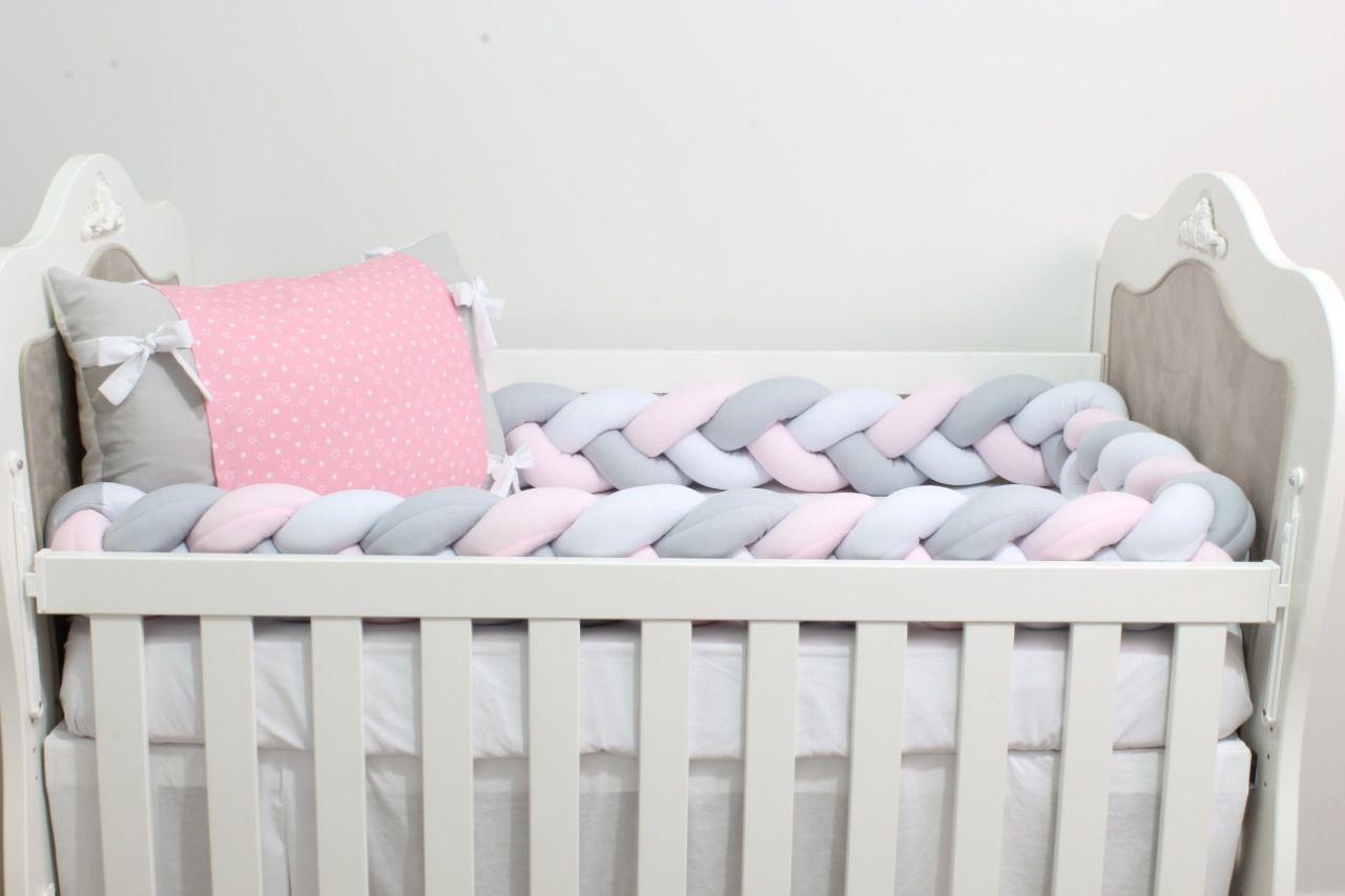 Kit de Berço Trança Estrelinha Branca 07 Peças  - Toca do Bebê