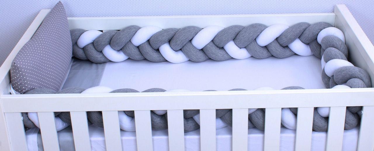 Kit de Berço Trança Estrelinha Cinza 06 Peças   - Toca do Bebê