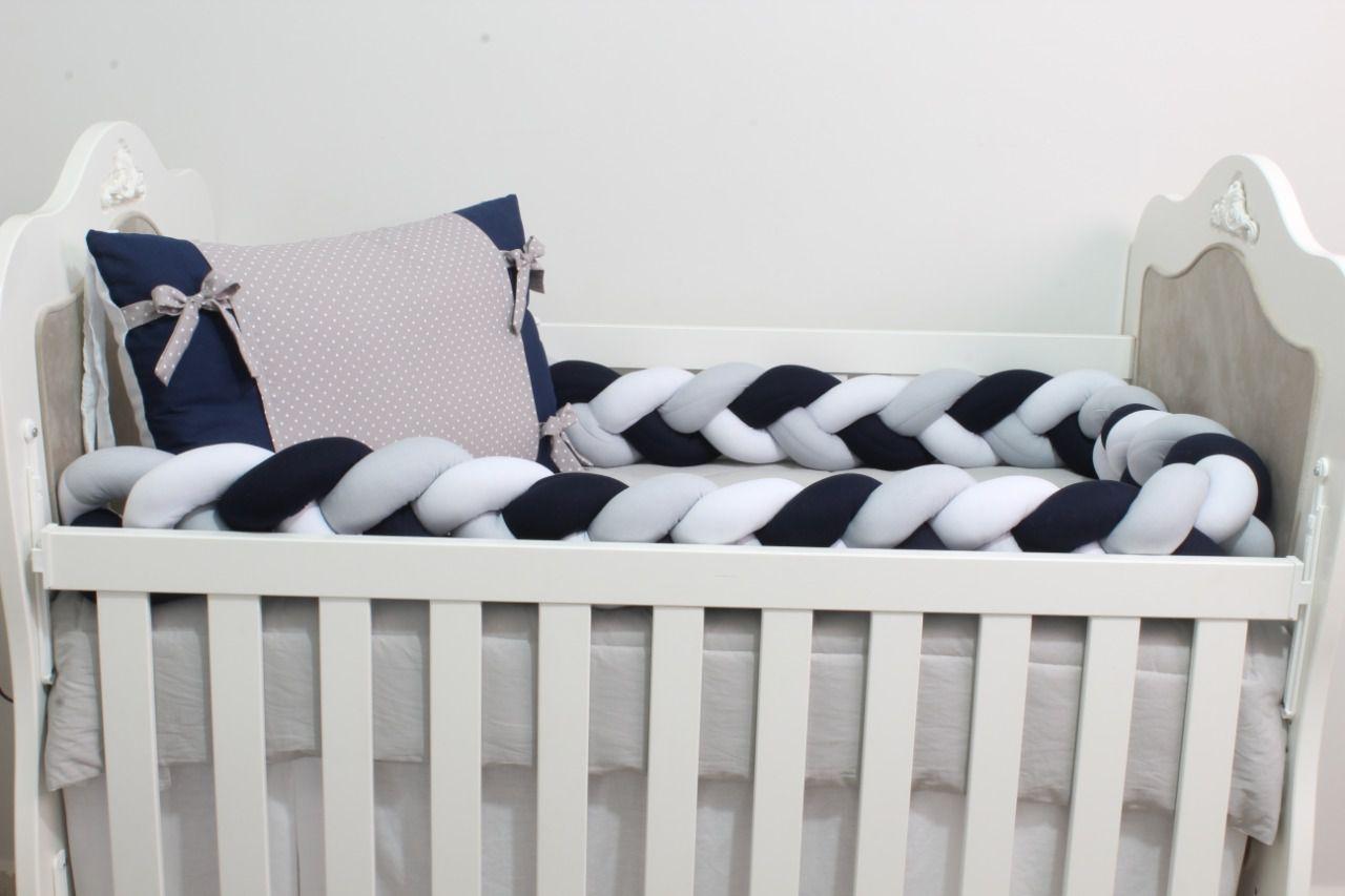 Kit de Berço Trança Estrelinha Marinho 07 Peças  - Toca do Bebê