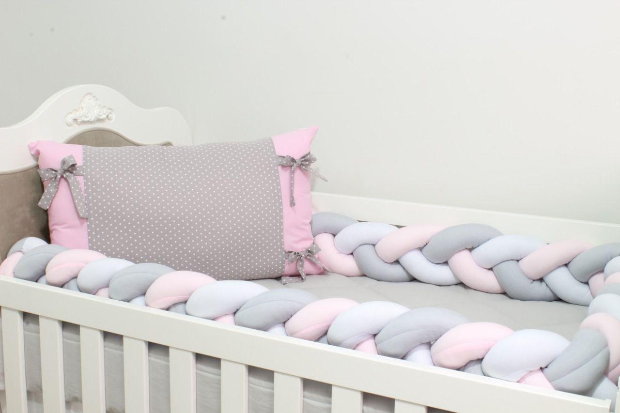 Kit de Berço Trança Estrelinha Rosa 07 Peças  - Toca do Bebê