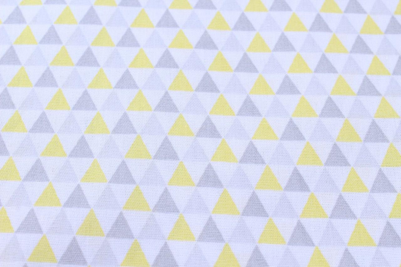 Kit de Berço Trança Triângulo Amarelo com Cinza 06 Peças  - Toca do Bebê