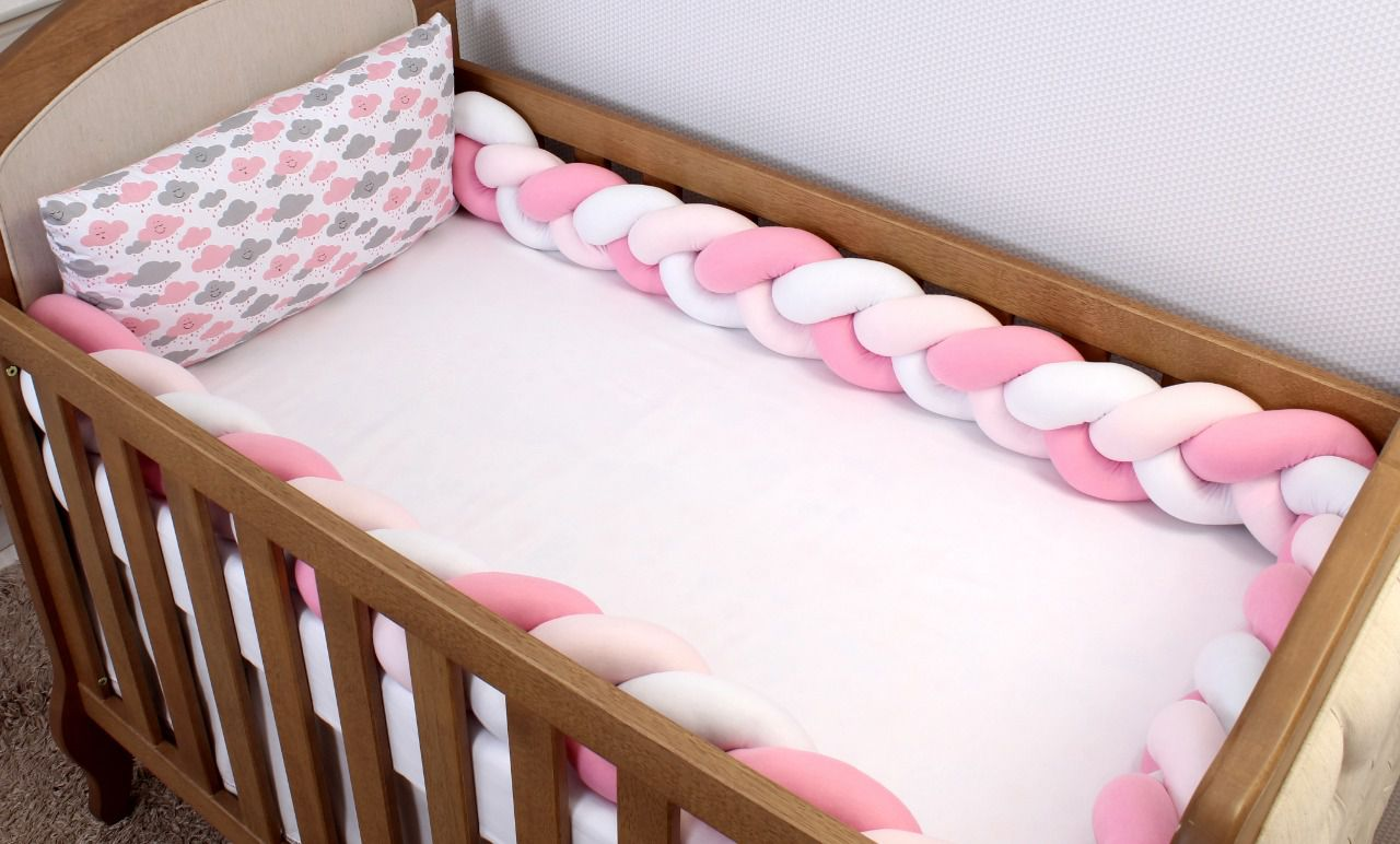 Kit de Berço Trança Nuvem Rosa 06 Peças  - Toca do Bebê