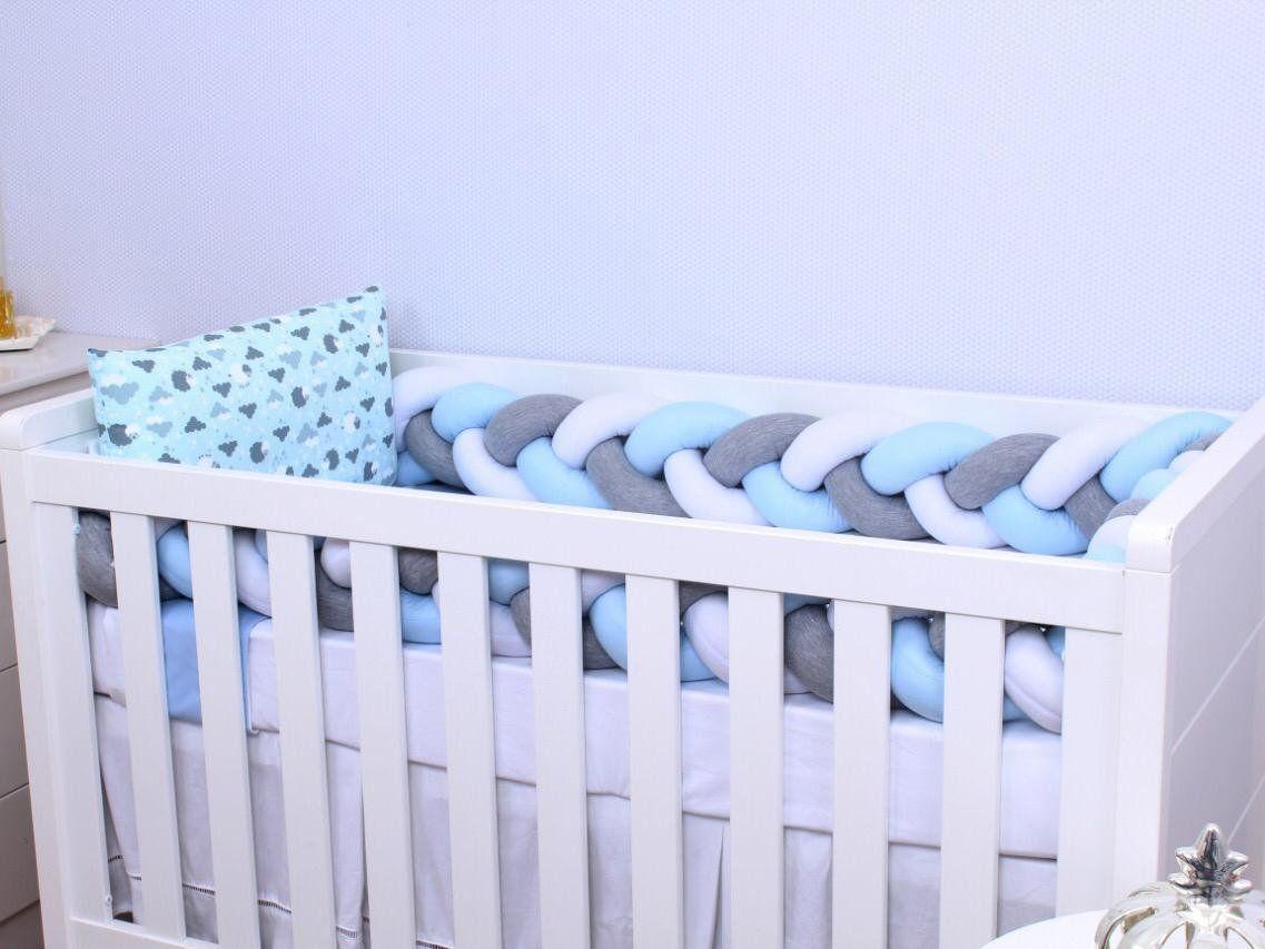 Kit de Berço Trança Ovelha Azul 06 Peças  - Toca do Bebê