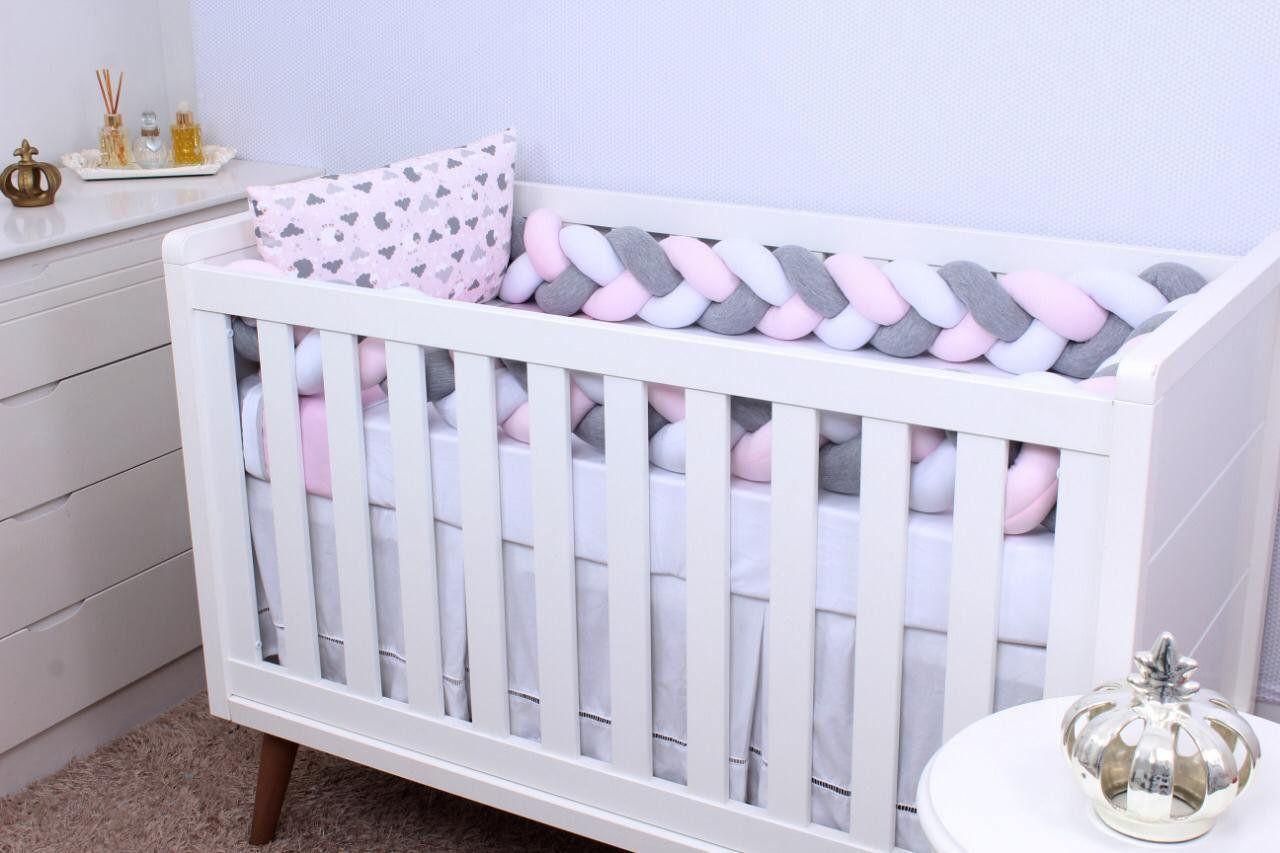 Kit de Berço Trança Ovelha Rosa  06 Peças  - Toca do Bebê