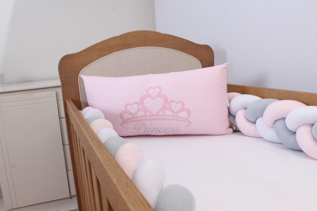 Kit de Berço Trança Princesa Rosa 06 Peças