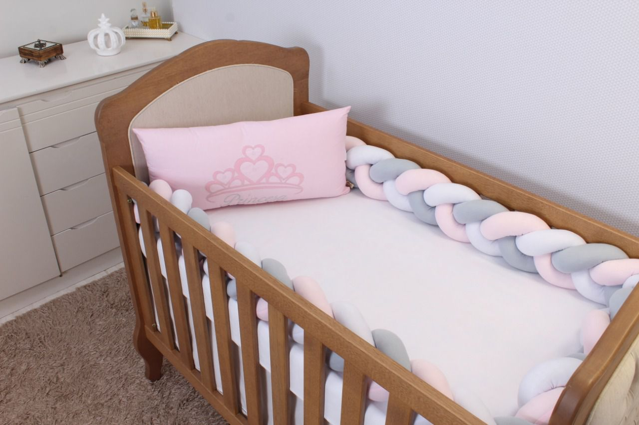Kit de Berço Trança Princesa Rosa 06 Peças  - Toca do Bebê