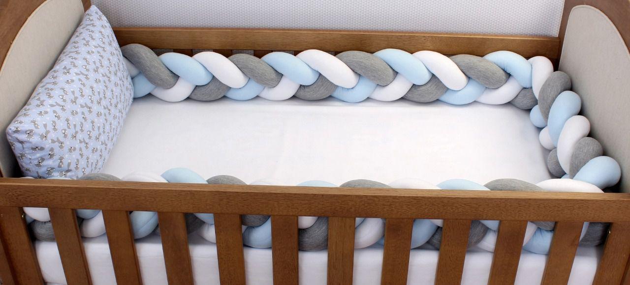Kit de Berço Trança Raposinha Azul com Poá 06 Peças  - Toca do Bebê
