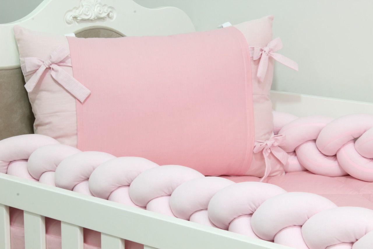 Kit de Berço Trança Rosa 07 Peças  - Toca do Bebê