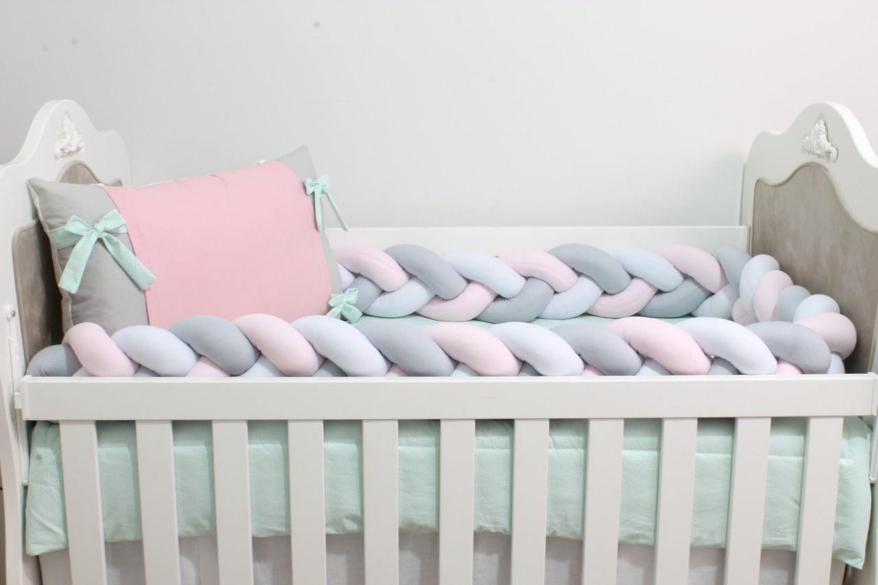 Kit de Berço Trança Rosa com Verde 07 Peças  - Toca do Bebê