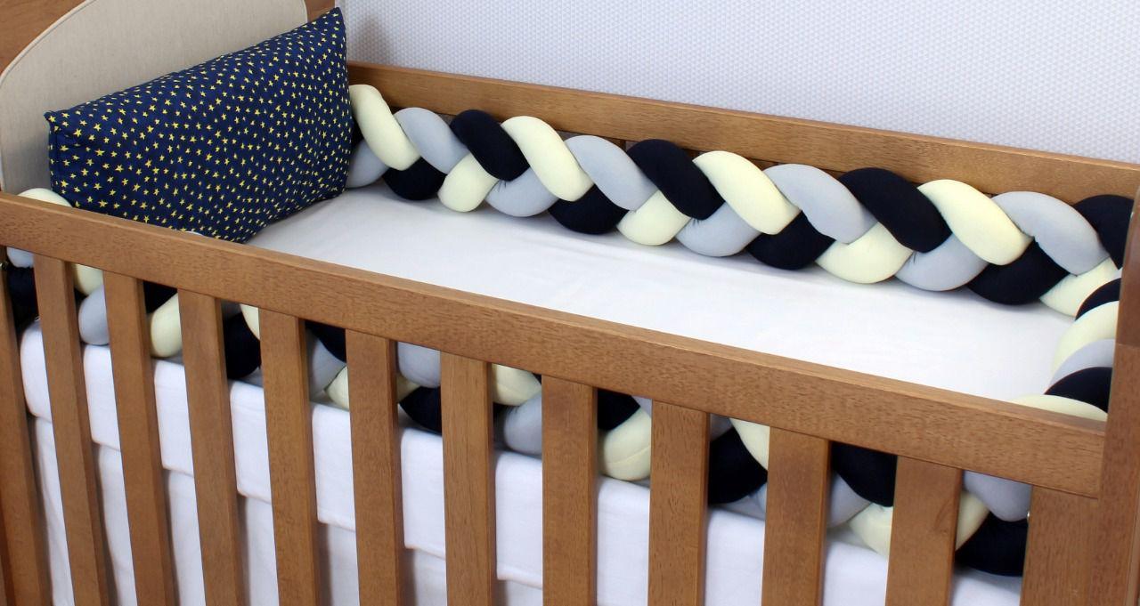 Kit de Berço Trança Star Marinho 06 Peças  - Toca do Bebê