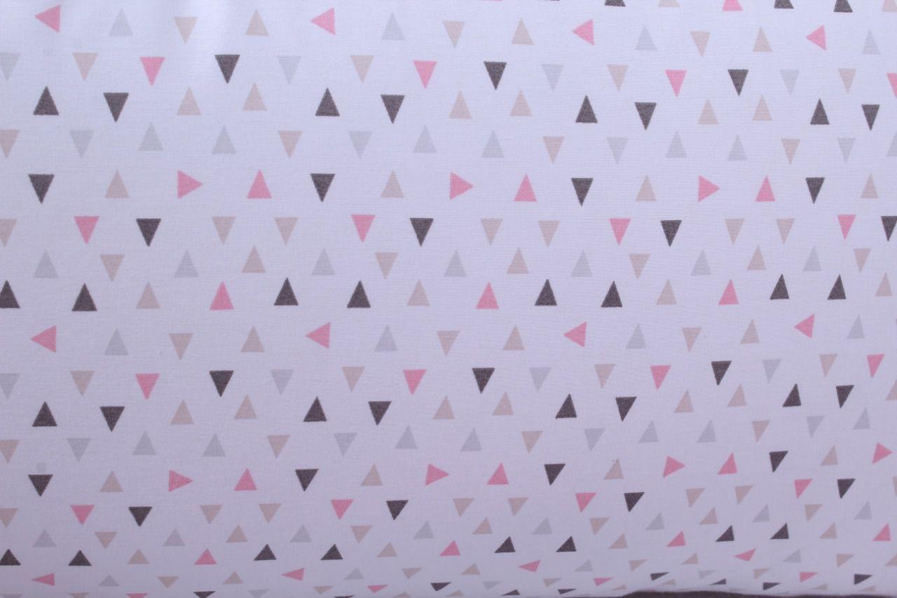Kit de Berço Trança Triângulo Branco com Rosa 06 Peças  - Toca do Bebê