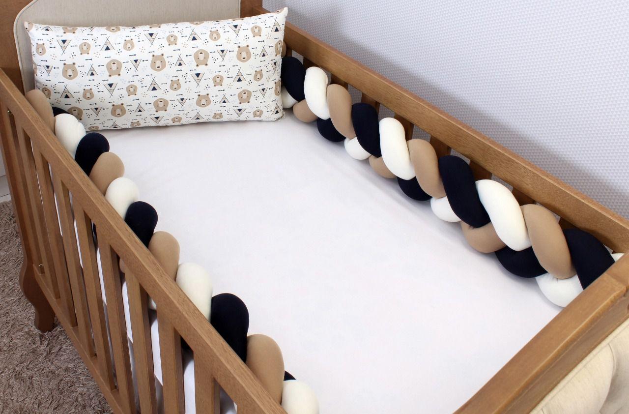 Kit de Berço Trança Urso Cabana Marinho 06 Peças  - Toca do Bebê