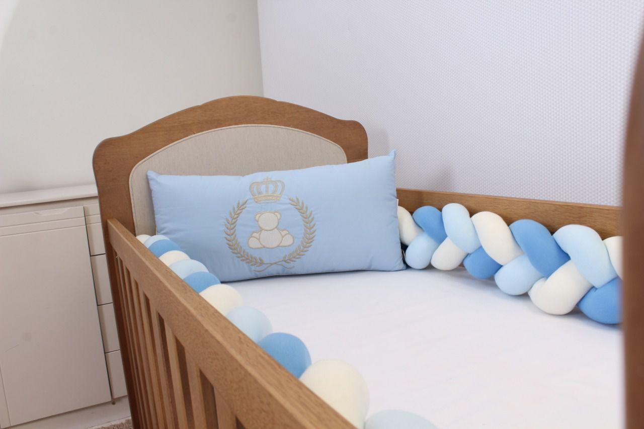 Kit de Berço Trança Urso Realeza Azul Bebê 06 Peças