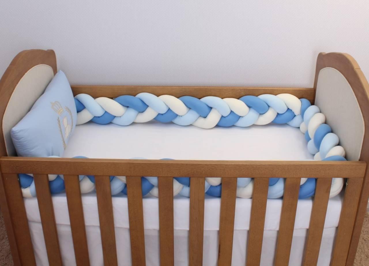 Kit de Berço Trança Urso Realeza Azul Bebê 06 Peças  - Toca do Bebê