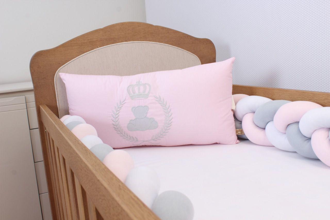 Kit de Berço Trança Urso Realeza Rosa 06 Peças