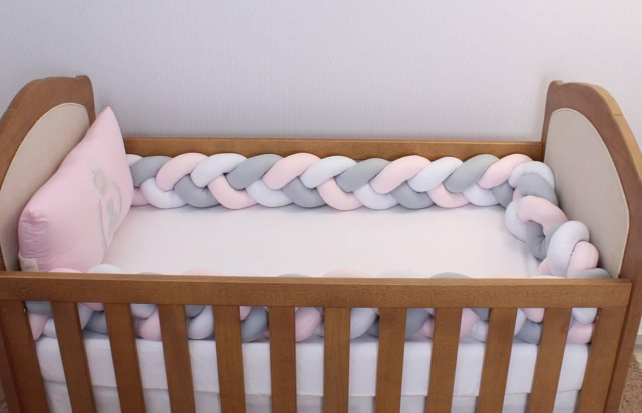 Kit de Berço Trança Urso Realeza Rosa 06 Peças  - Toca do Bebê