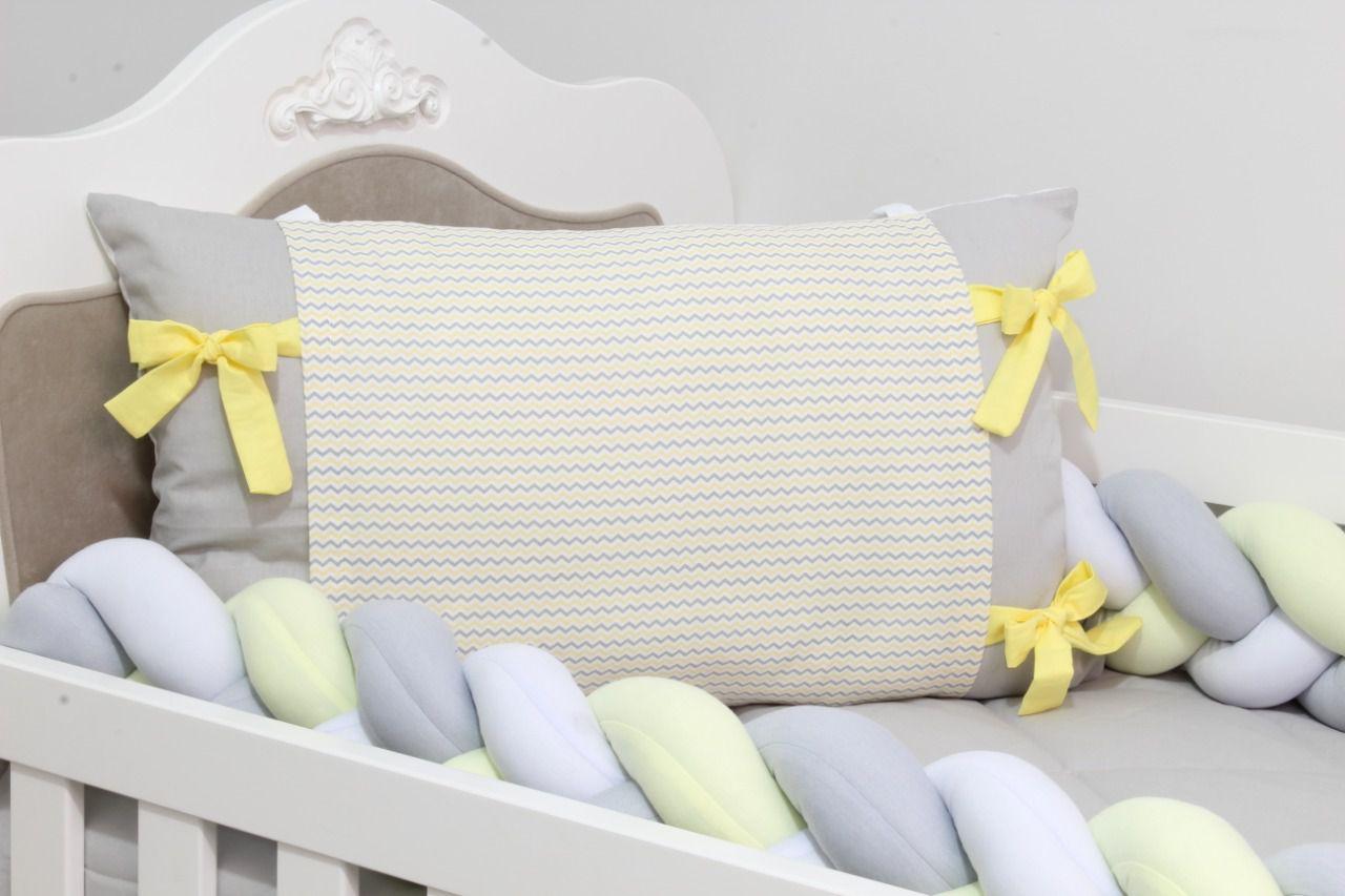 Kit de Berço Trança Zig Zag Amarelo 07 Peças  - Toca do Bebê
