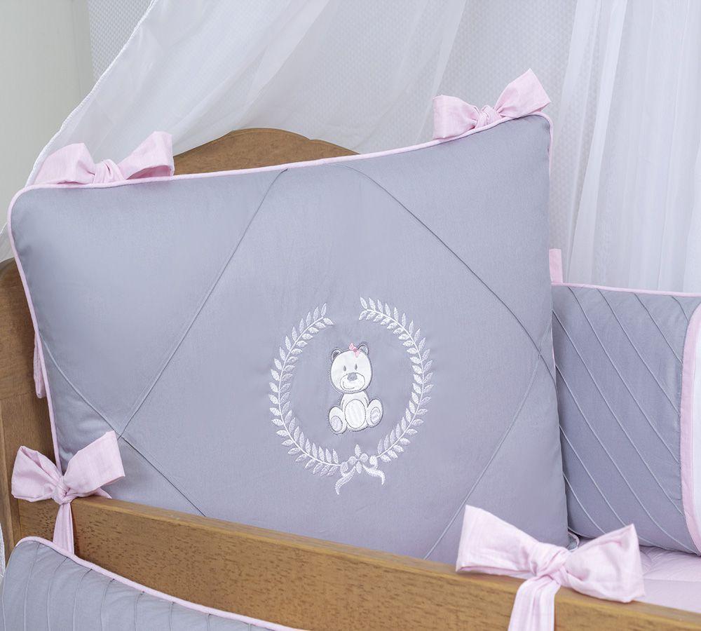 Kit de Berço Ursa Clássica Rosa 08 Peças  - Toca do Bebê