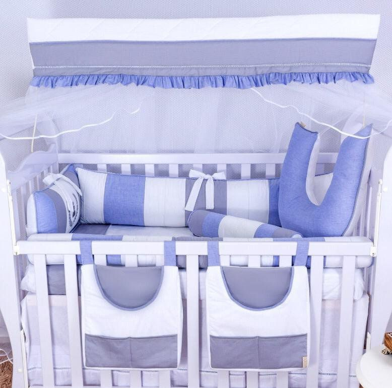 Kit de Berço Ursinho Théo Azul 09 Peças  - Toca do Bebê