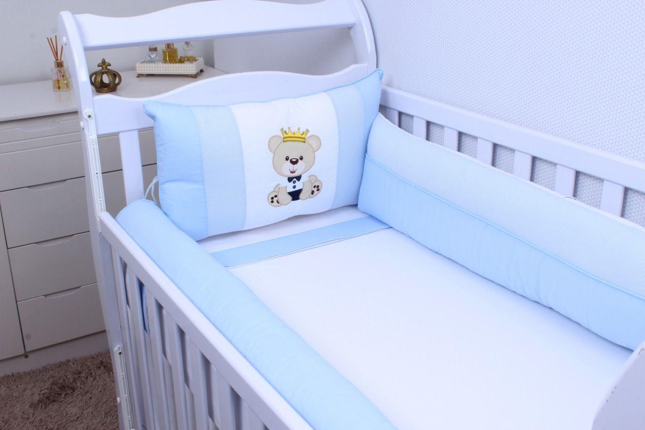 Kit de Berço Urso Realeza Azul 08 Peças