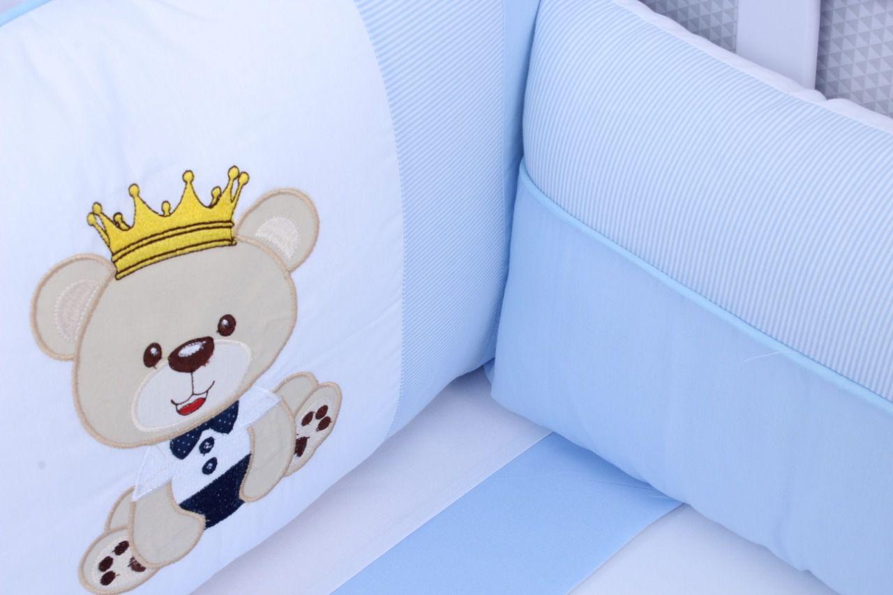 Kit de Berço Urso Realeza Azul 08 Peças  - Toca do Bebê