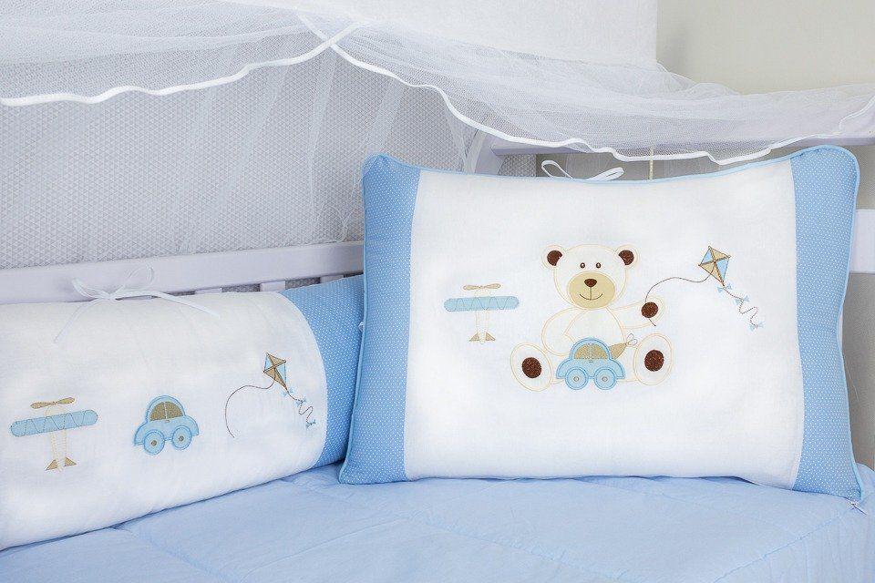 Kit de Berço Urso Brinquedos Azul 09 Peças   - Toca do Bebê