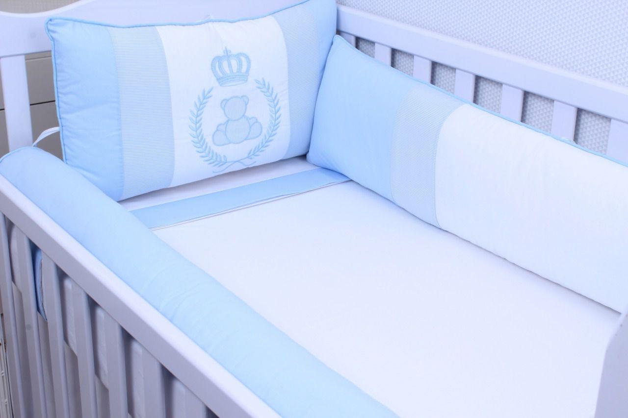 Kit de Berço Urso Realeza Azul  09 Peças