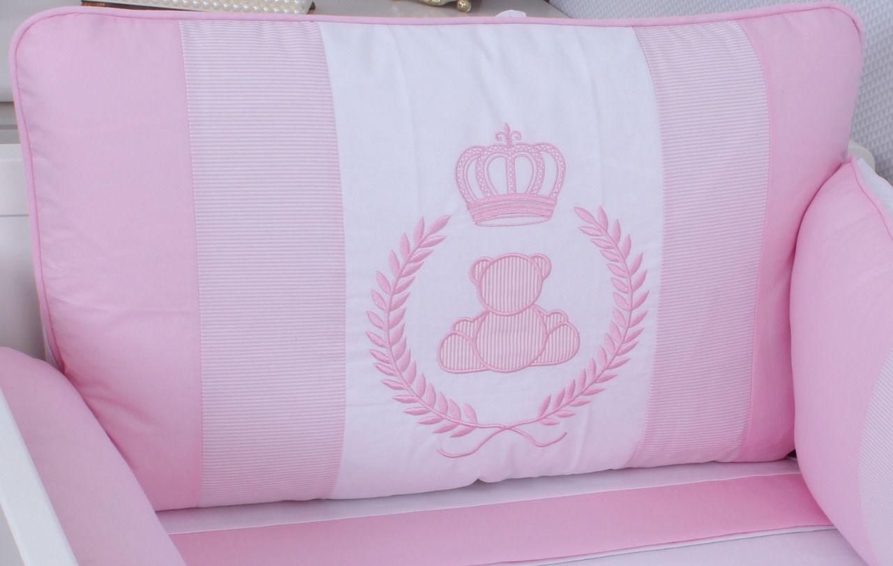 Kit de Berço Urso Realeza Rosa 09 Peças  - Toca do Bebê