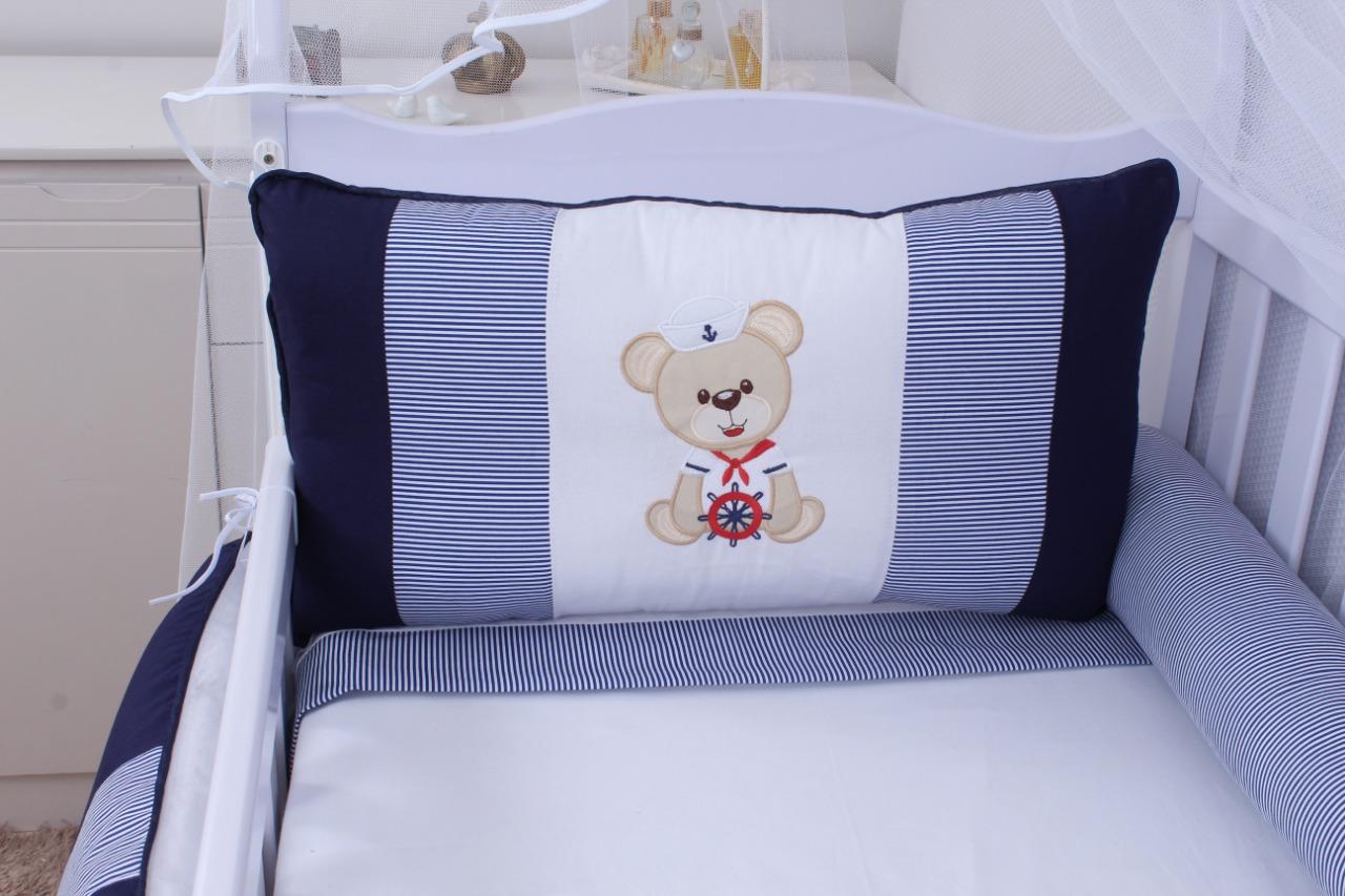 Kit de Berço Urso Marinheiro 08 Peças  - Toca do Bebê