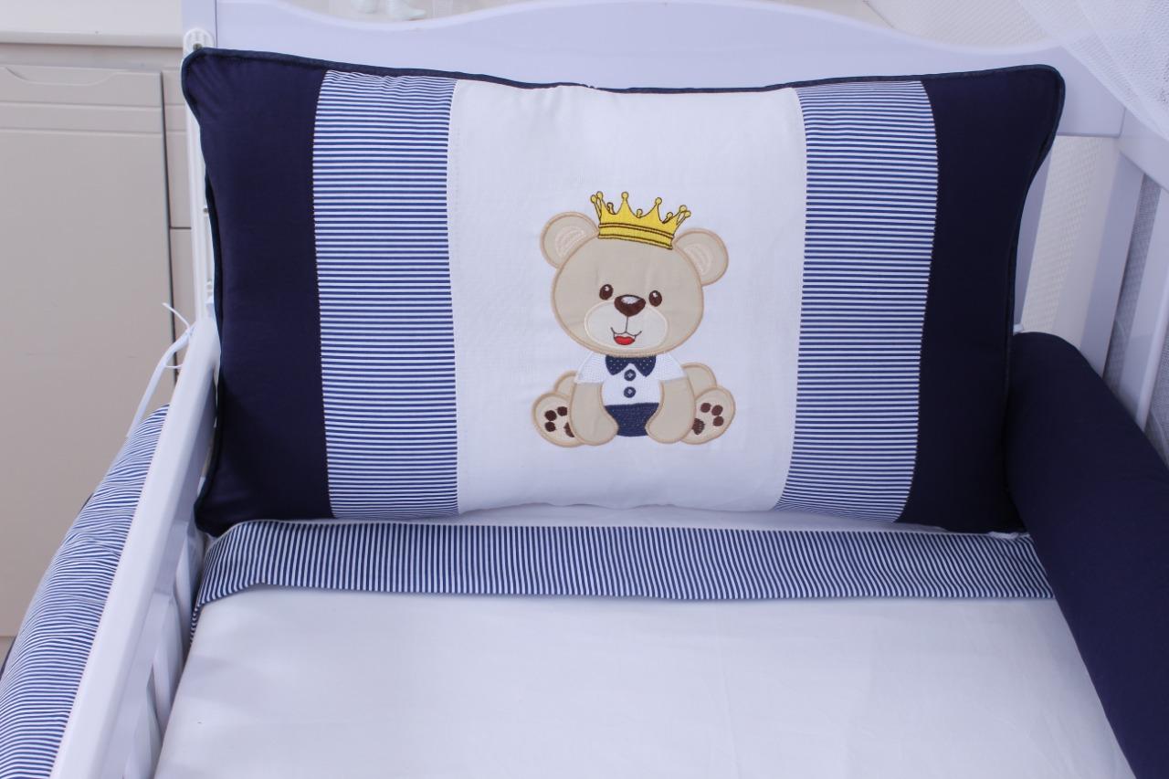 Kit de Berço Urso Realeza Marinho 08 Peças  - Toca do Bebê