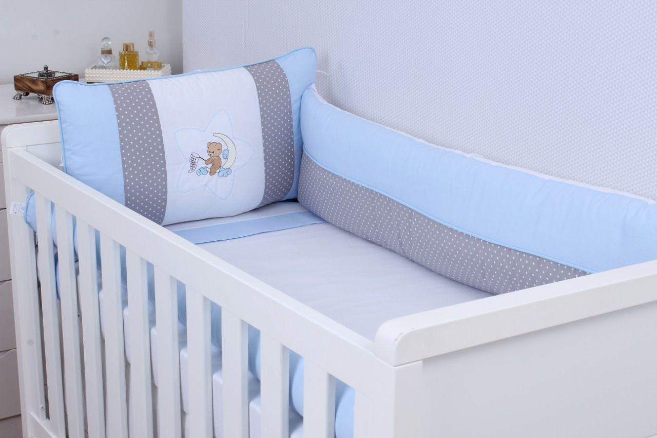 Kit de Berço Urso Soninho Azul 09 Peças  - Toca do Bebê