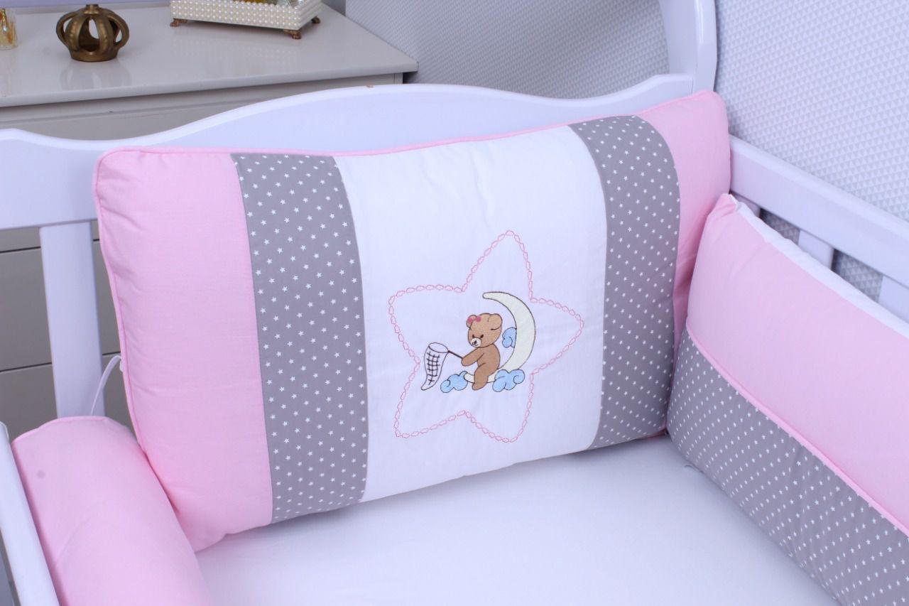 Kit de Berço Urso Soninho Rosa 09 peças  - Toca do Bebê