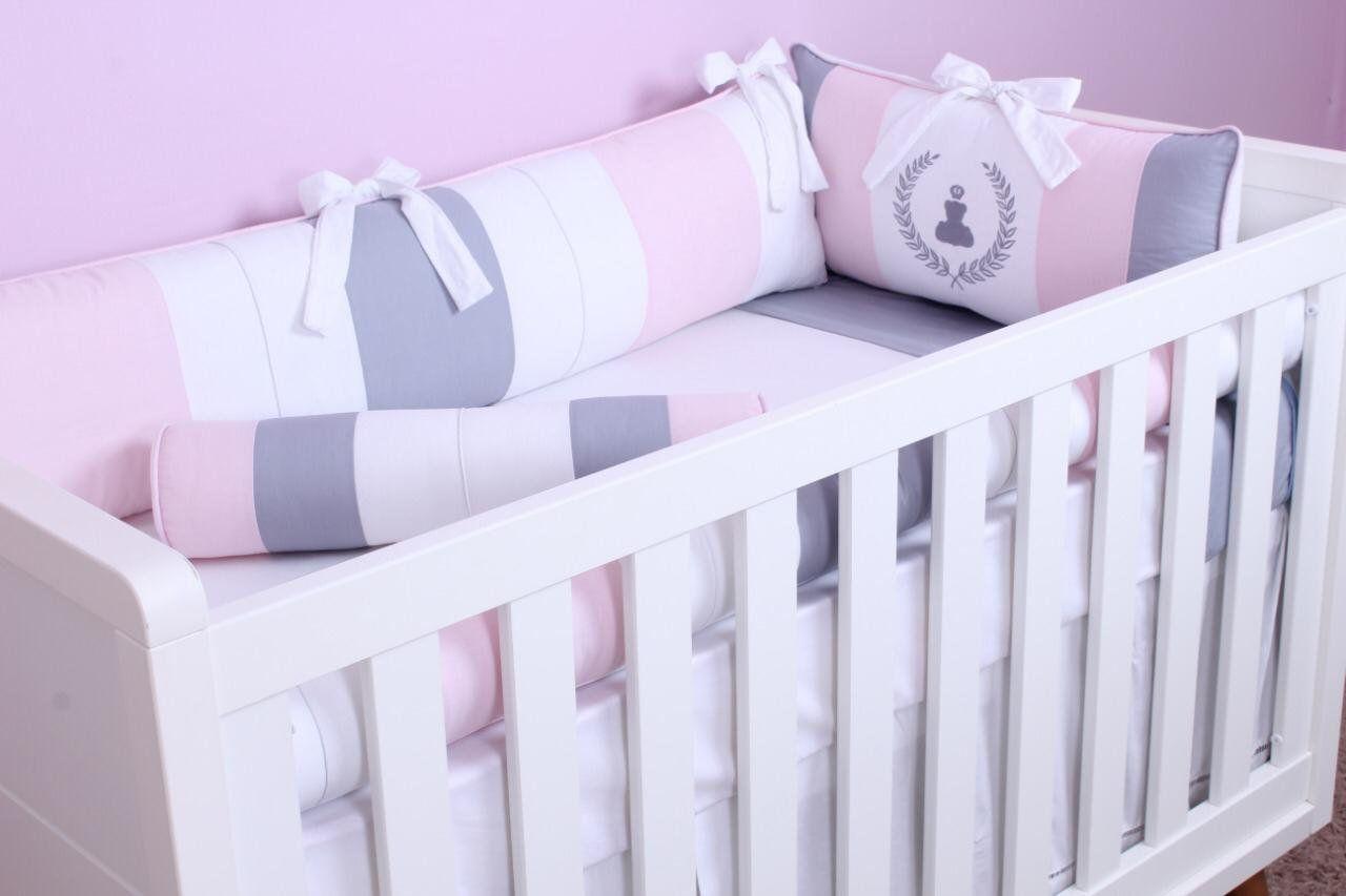 Kit de Berço Ursinho Théo Rosa 09 Peças  - Toca do Bebê