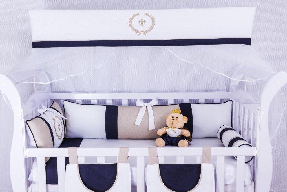 Kit de Berço Versailles Marinho 09 peças  - Toca do Bebê