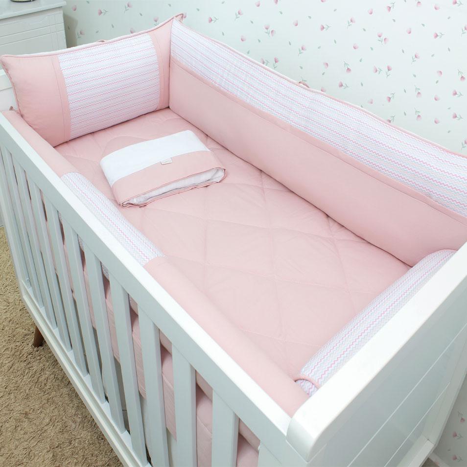 Kit de Berço Zig Zag Coral 08 Peças  - Toca do Bebê