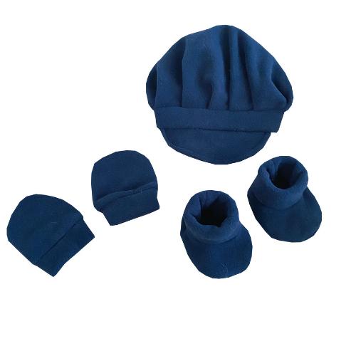 Kit Infantil Boina, Luva e Sapatinho Azul Marinho  - Toca do Bebê