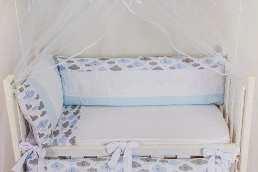 Kit Mini Berço Nuvem Azul com Cinza 08 Peças  - Toca do Bebê