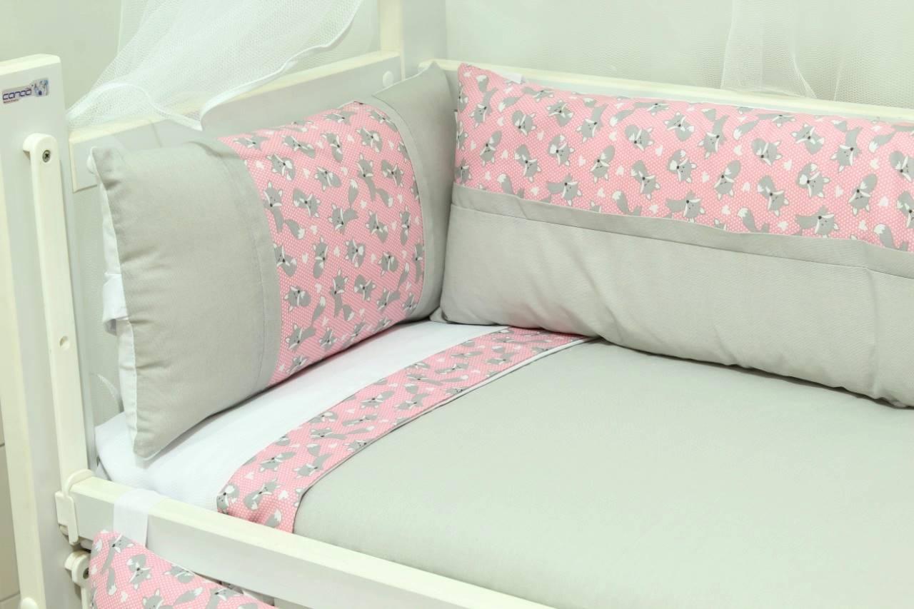 Kit Mini Berço Raposinha Rosa 08 peças