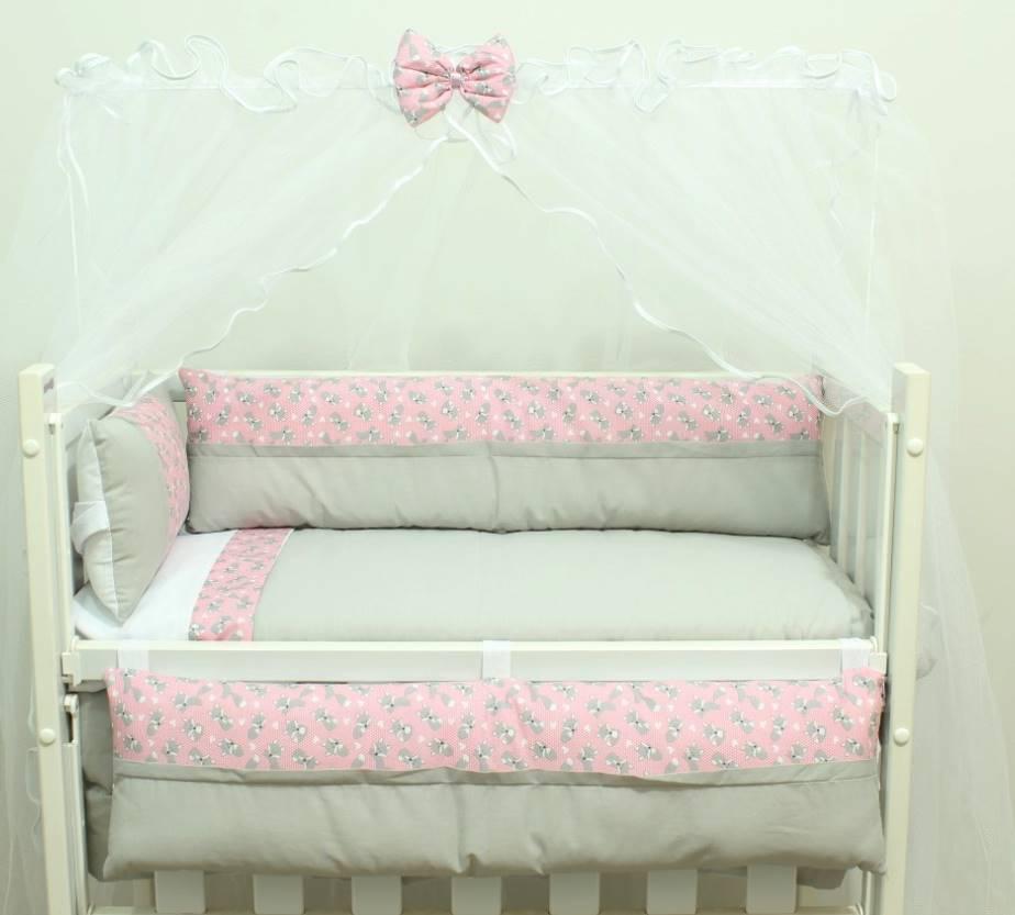 Kit Mini Berço Raposinha Rosa 08 peças  - Toca do Bebê