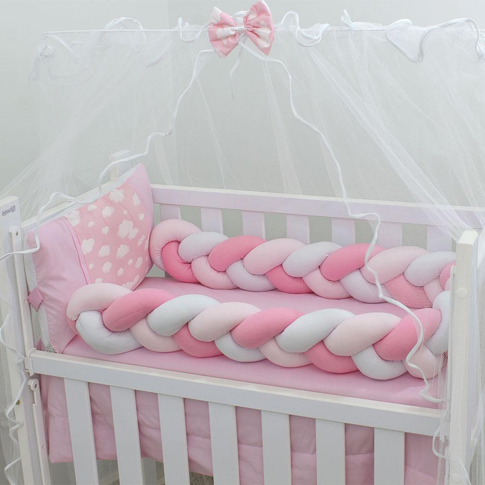 Kit Mini Berço Trança Algodão Doce Rosa 07 Peças  - Toca do Bebê