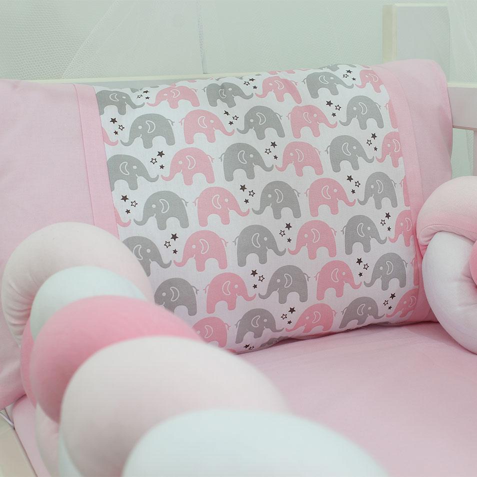 Kit Mini Berço Trança Elefante Rosa com Cinza 07 Peças  - Toca do Bebê