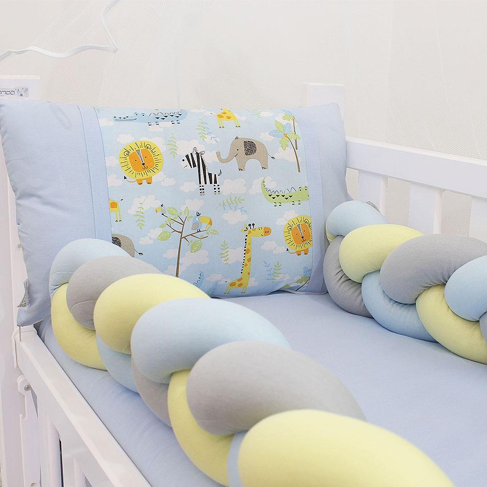 Kit Mini Berço Trança Safári Azul 07 Peças  - Toca do Bebê