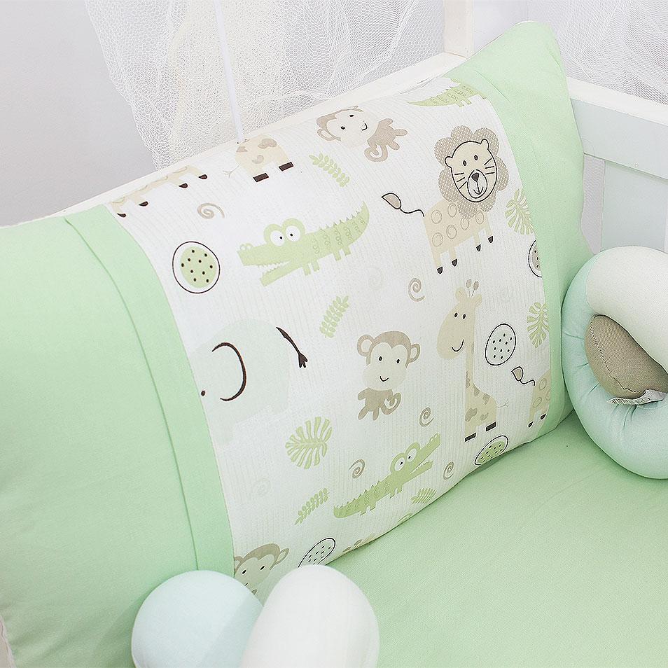 Kit Mini Berço Trança Selva 07 Peças  - Toca do Bebê