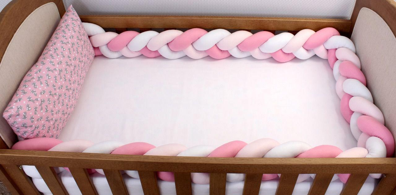 Kit de Berço Trança Raposinha Rosa com Poá 06 Peças   - Toca do Bebê