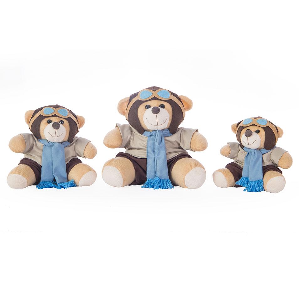 Kit Trio Ursinhos De Pelúcia Aviador Azul